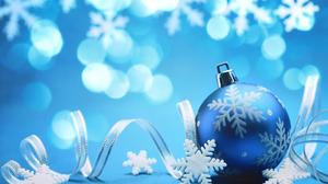 Blue Christmas Ornaments Ribbon Snowflake 1920x1280 Wallpaper