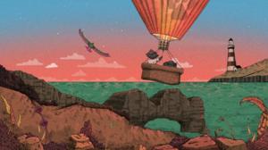 Hot Air Balloons Birds Water Lighthouse Rocks Plants Sunset Raccoons Anthro Clouds Jim Spendlove 1920x1080 Wallpaper