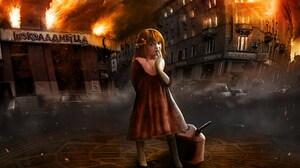 City Destruction Fantasy Fire Flame Little Girl 1920x1200 Wallpaper