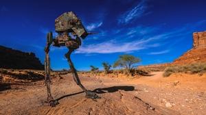 3d At St Cgi Digital Art Machine Robot Desert 6000x4000 Wallpaper