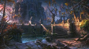 Town Steps Digital Art Bears Forest On The Floor DeviantArt 1366x768 Wallpaper