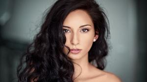 Model Portrait Face Women Dark Hair Brown Eyes Eyes 5165x3528 Wallpaper