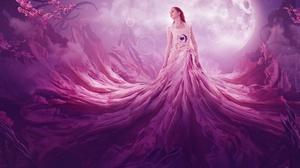 Blossom Dress Girl Heart Moon Red Hair Woman 3840x2400 Wallpaper