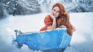 Women Model Boat Vehicle Redhead Winter Snow Cold Outdoors Women Outdoors Looking At Viewer 2048x1367 Wallpaper