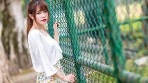 Asian Brunette Depth Of Field Fence Girl Lipstick Model Woman 2048x1365 Wallpaper