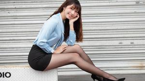 Asian Model Women Long Hair Dark Hair Short Skirt Blouse Sitting Black Heels Nylons 3840x2560 Wallpaper