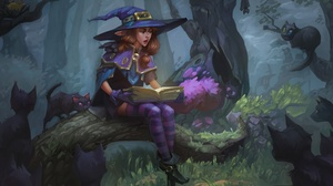 Cat Book Girl Woman Witch Hat Brown Hair 1920x1200 Wallpaper