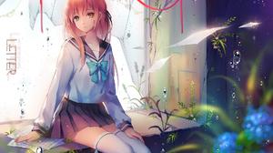 Bubble Pink Hair School Uniform Thigh Highs 1916x1355 Wallpaper