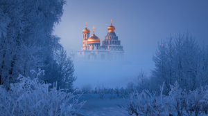 Nature Landscape Winter Snow Trees Mikhail Dubrovinskiy Cross Russia Cathedral Frost Mist 1600x1067 Wallpaper