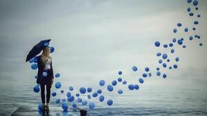 Women Model Landscape Nature Balloon Pier Water Sky Clouds Umbrella Blonde Women With Umbrella 2048x1541 Wallpaper