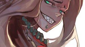 Fate Grand Order Fate Series Green Eyes Blonde Aztec Jewelry Grin Shark Teeth Anime Anime Girls Long 1405x1788 Wallpaper