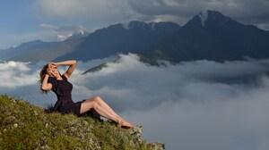 Vladimir Kulakov Women Brunette Smiling Dress Black Clothing Barefoot Nature Sky Clouds Mountains 2400x1601 Wallpaper