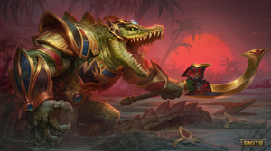 Sobek Smite Egyptian Mythology Crocodile Weapon Trees Claws Swamp Watermarked Armored Anthro 3840x2160 Wallpaper