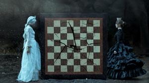 Chess Board Games Two Women Model White Dress Black Dress Dress 3840x2160 Wallpaper