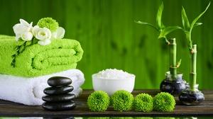 Bamboo Green Reflection Spa Stone Towel White Flower Zen 7000x4690 Wallpaper