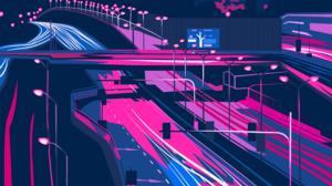 Illustration Colorful Purple Neon Glowing Cityscape Architecture Building Dark City Silhouette Vecto 3856x4991 Wallpaper