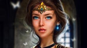 MiniDem Women Fantasy Girl Brunette Blue Eyes Crown Choker Butterfly Fantasy Art Digital Art Artwork 1920x1530 Wallpaper
