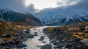 New Zealand River Landscape Snow Nature 7952x5304 Wallpaper