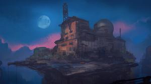 Building Moon Night 4000x1720 Wallpaper