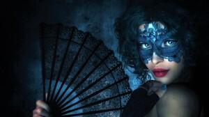 Black Blue Eyes Blue Hair Fan Girl Glove Lipstick Mask Short Hair Woman 1920x1200 Wallpaper