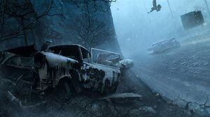 Silent Hill Video Games Birds Animals Car Vehicle Wreck Video Game Horror 1920x1080 Wallpaper