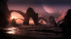 Sunset Planet 3397x1901 Wallpaper