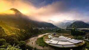 Nature Landscape Photography River Sunlight Morning Mountains Forest Mist Rice Paddy Bridge Town 1600x1150 Wallpaper