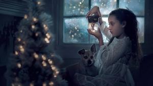 Snow Globe Children Dog Christmas Christmas Lights Christmas Tree White Dress Snowing Night Indoors  1920x1368 Wallpaper