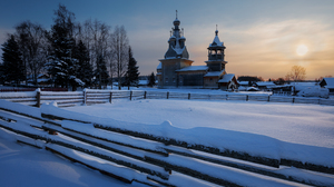 Snow Snow Covered Cold Winter Morning Sun Fence Architecture Building Photography Trees Outdoors Rau 2400x1600 Wallpaper