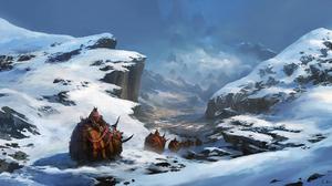 Caravan Creature Fog Landscape Mammoth Mountain Path Snow 2576x1280 Wallpaper