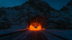 Landscape Night Tunnel Mountain Mountains Road Cave Dark 2800x1867 wallpaper