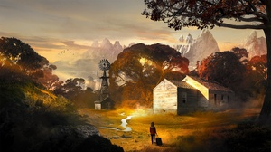Landscape Nature Artwork Mountains House Trees Suitcase T1na 2560x1440 Wallpaper