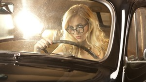 Model Women Car Black Cars Glasses 1920x1200 Wallpaper