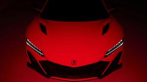 Acura Acura NSX Car Red Cars Vehicle Spotlights Sports Car High Angle Hood 3840x2160 Wallpaper