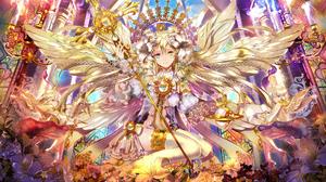 Angel Anime Cute Flower Long Hair Original Anime Pretty Scenic Staff Thigh Highs Wings Woman 1920x1081 Wallpaper