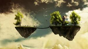 Plants Digital Art Rock Floating Sky Artwork Trees Birds Clouds Floating Island House 1920x1080 Wallpaper
