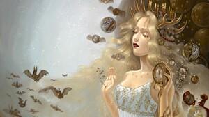 Fantasy Art Clockworks Bats Candles Mask Blonde Owl Constellations 1936x1212 Wallpaper