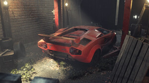 Pavel Golubev Digital Art Artwork Car Vehicle Red Cars Lamborghini Lamborghini Countach 2420x1100 Wallpaper