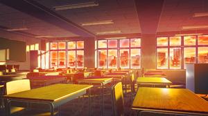 Classroom Sunset 1920x1080 Wallpaper