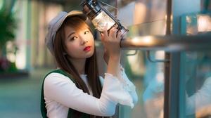 Woman Model Girl Lantern Brunette Hat Depth Of Field Lipstick 4500x3002 Wallpaper