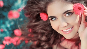 Woman Model Smile Blue Eyes Brunette Flower 2560x1600 wallpaper