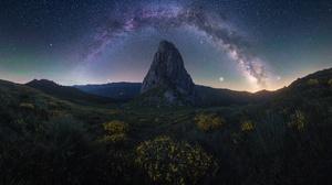 Dark Nature Landscape Rock Sky Stars Milky Way 2500x1667 Wallpaper