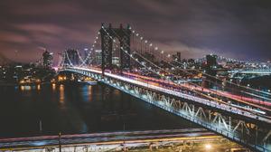 Bridge City Light Manhattan Bridge New York Night Usa 2048x1365 Wallpaper