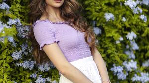 Alessandro Di Cicco Women Sweet Ary Brunette Long Hair Wavy Hair Makeup Purple Clothing Skirt White  1365x2048 Wallpaper