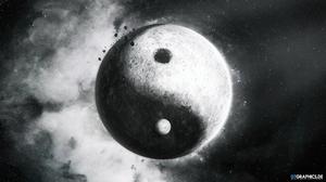 Yin And Yang 3D Digital Art ArtStation Monochrome Taenaron 2560x1440 Wallpaper