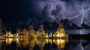 Ship Lightning Reflection Florida Storm 2560x1713 Wallpaper