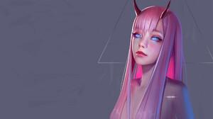 Huy Ozuno Pink Hair Simple Background Horns Looking At Viewer Artwork Women Blue Eyes Digital Art Ul 1920x1173 Wallpaper