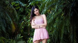 Asian Model Women Depth Of Field Long Hair Dark Hair Women Outdoors Pink Dress Plants Leaves Branch  3840x2559 Wallpaper