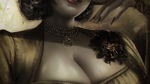 Lady Dimitrescu Resident Evil 8 Village Resident Evil Rose Necklace Painted Fingernails Orange Eyes  1702x2400 Wallpaper