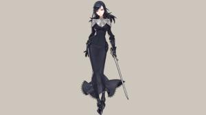 Bloodborne Dark Souls Yuria Of Londor Sword Dress Black Hair Mask Alice 2560x1440 Wallpaper